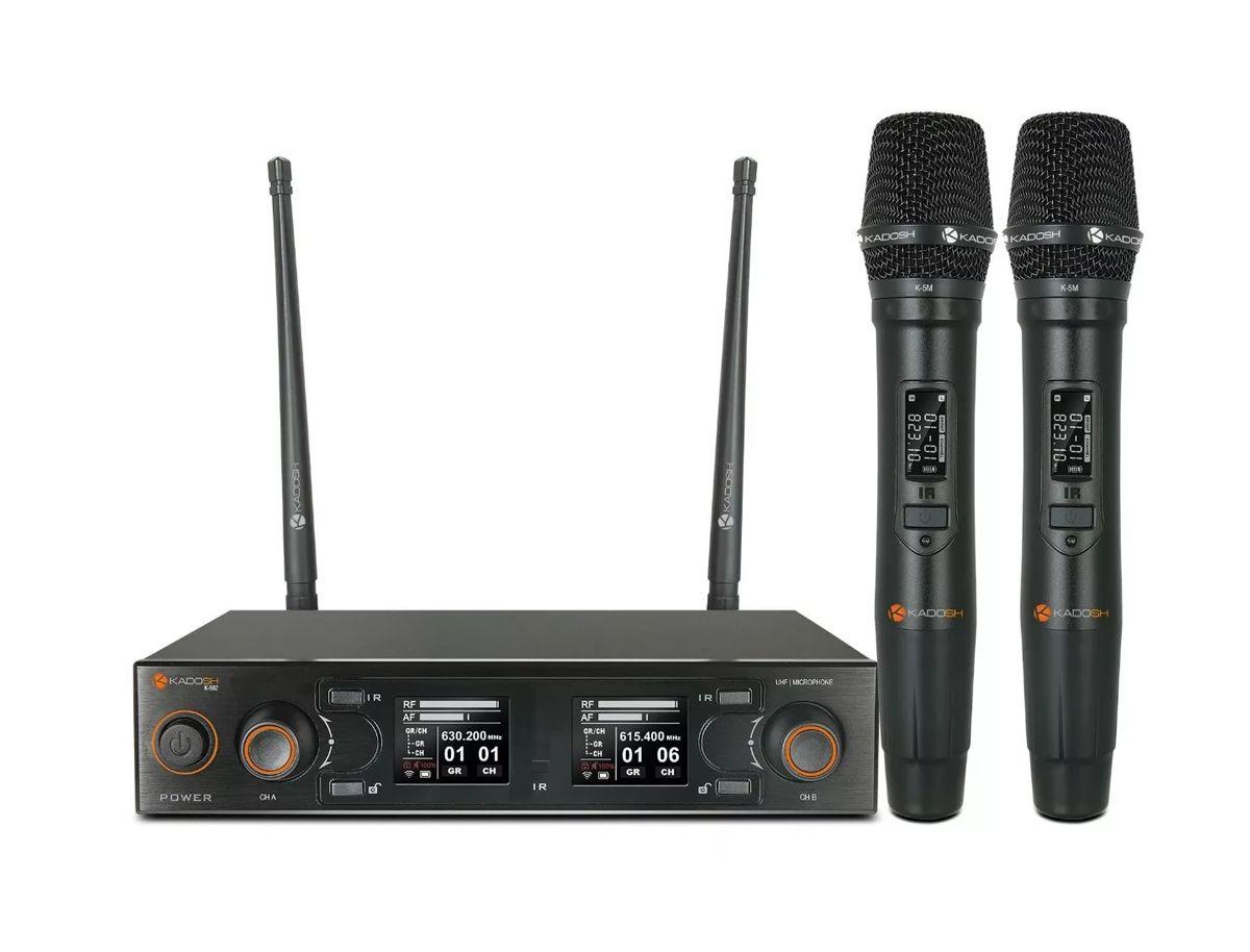 Microfone Kadosh K502m Uhf Sem Fio Duplo De Mão  - MegaLojaSP
