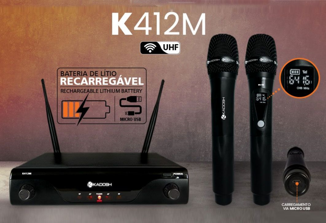 Microfone Kadosh s/ Fio Duplo UHF Profissional K412M Recarregável  - MegaLojaSP