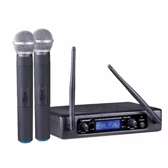 Microfone Karsect Sem Fio Duplo de Mão KRU220M UHF  - MegaLojaSP