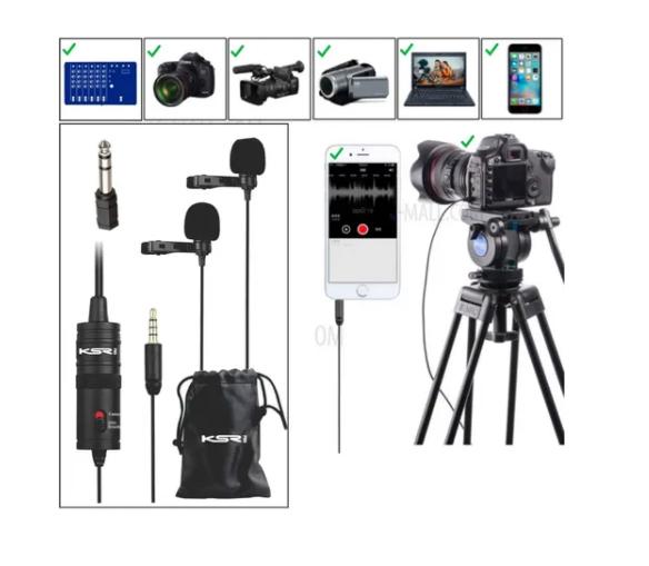 Microfone KSR Lapela Profissional Duplo K1dm  - MegaLojaSP