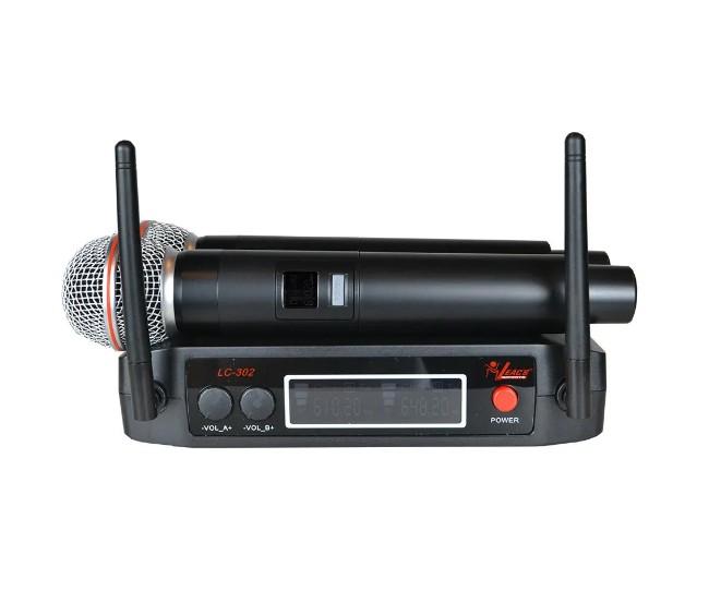 Microfone Leacs de Mão Duplo sem fio UHF LC302  - MegaLojaSP