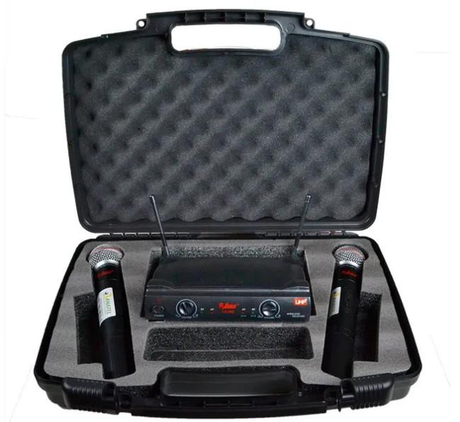 Microfone Leacs Duplo Sem Fio de Mão UHF LC202  - MegaLojaSP