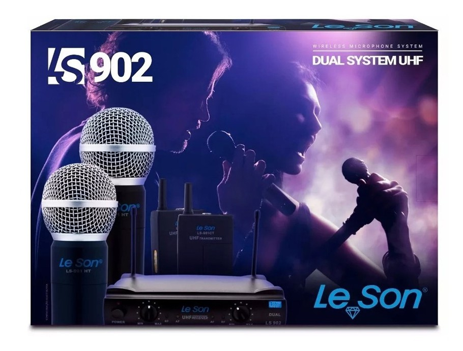 Microfone LeSon Sem Fio Duplo Uhf  Ls902 Ht/ht Original  - MegaLojaSP