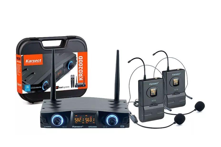 Microfone Sem Fio Duplo Auricular Headset Karsect Krd200Dh  - MegaLojaSP