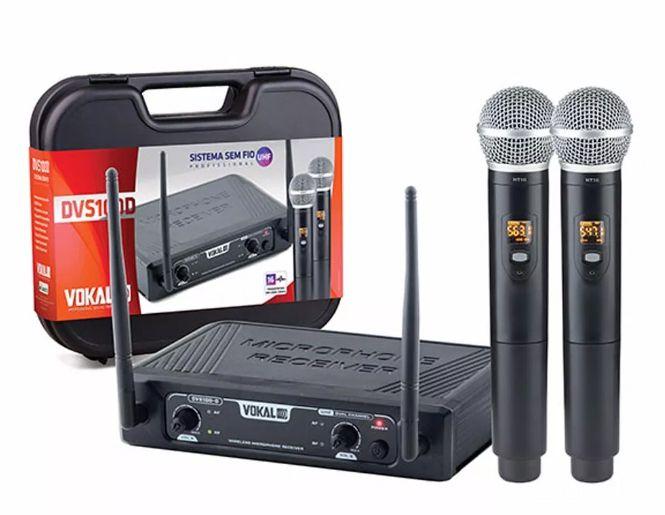Microfone Sem Fio Dvs100dm Duplo Mão Vokal  - MegaLojaSP