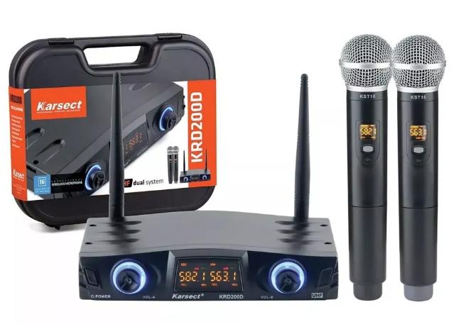 Microfone Sem Fio Karsect Krd200dm Duplo Mão  - MegaLojaSP