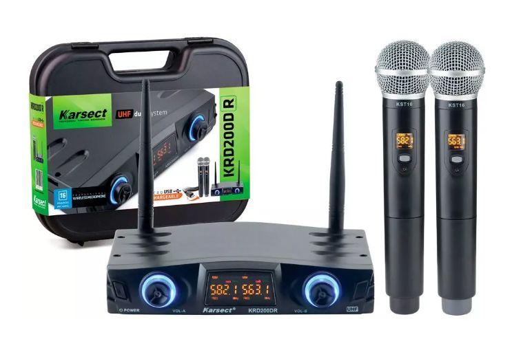 Microfone Duplo Mão Sem Fio Karsect Krd200DR  Recarregável  - MegaLojaSP