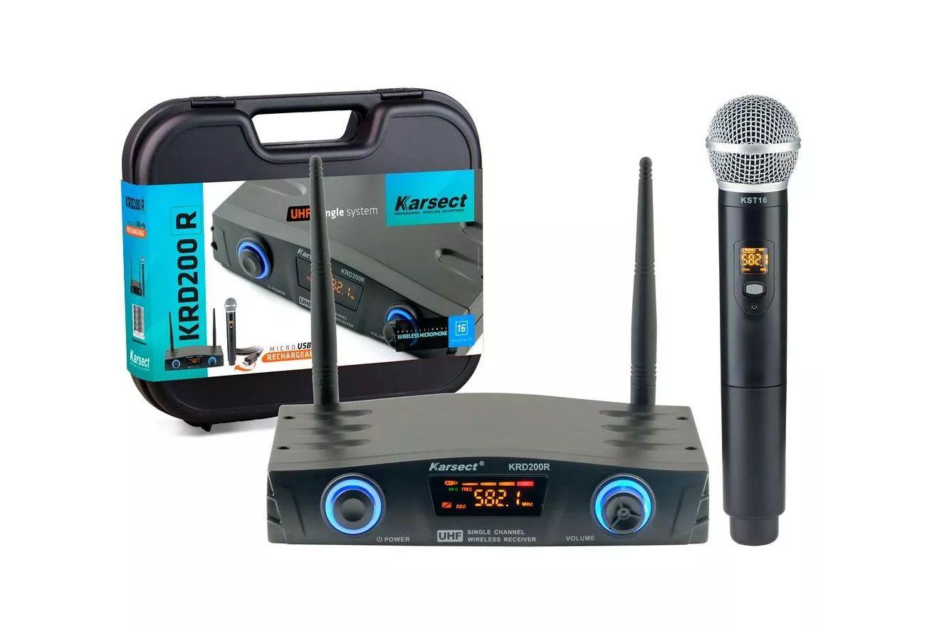 Microfone Sem Fio Karsect Krd200R Mão Recarregável  - MegaLojaSP