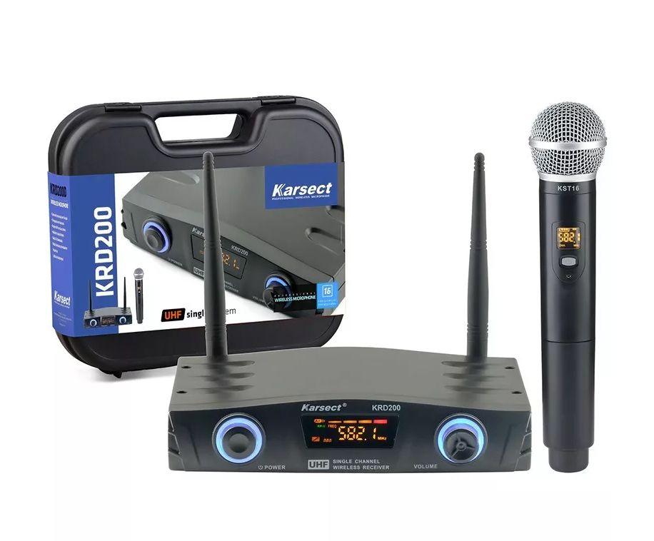 Microfone Sem Fio Mão Profissional Uhf Igreja Karsect Krd200sm  - MegaLojaSP