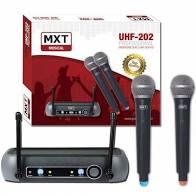 Microfone Sem Fio MXT R202 UHF202 Mão Duplo  - MegaLojaSP