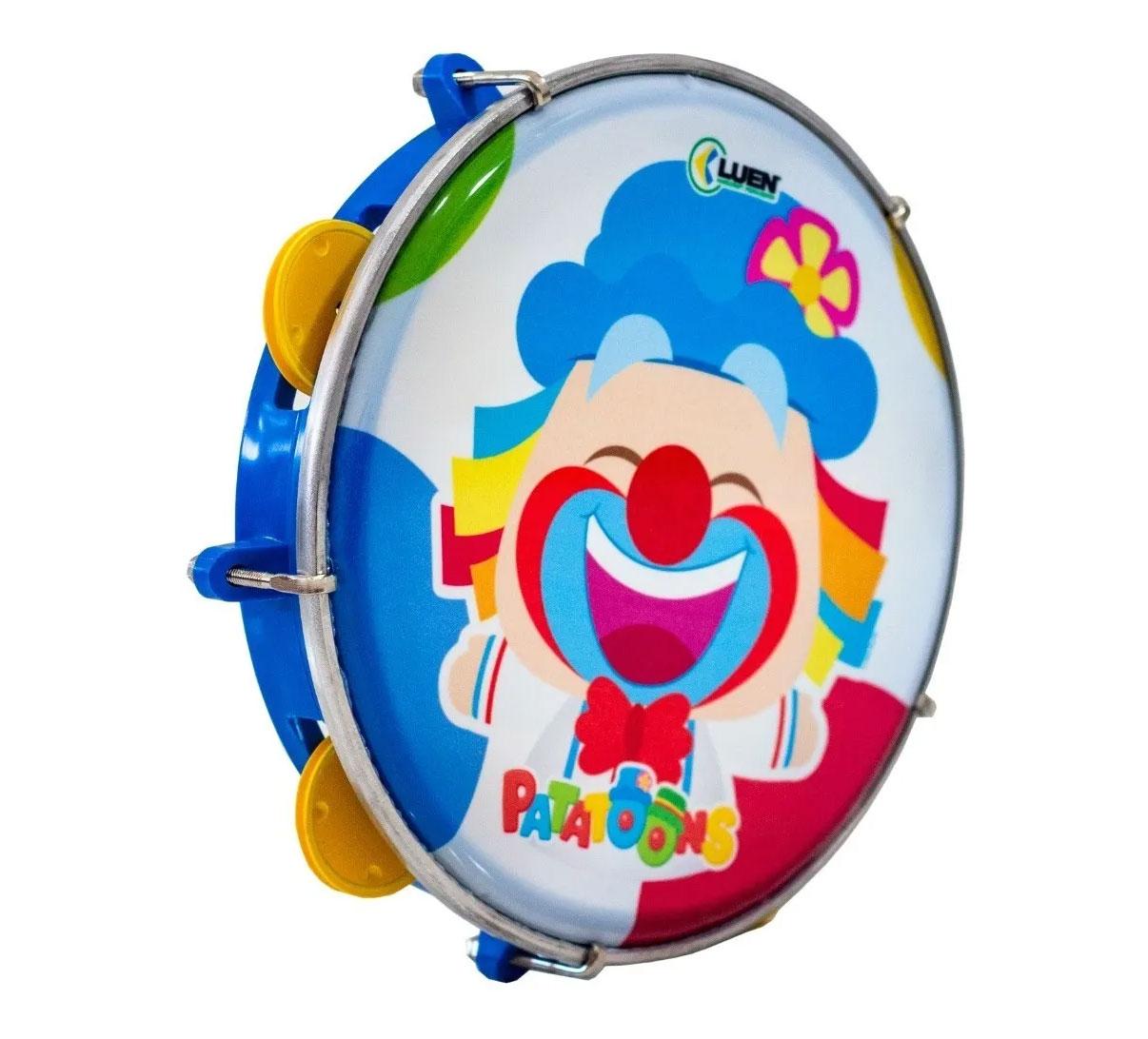 "Pandeiro Infantil Luen Patati Patata Azul 8""  - MegaLojaSP"