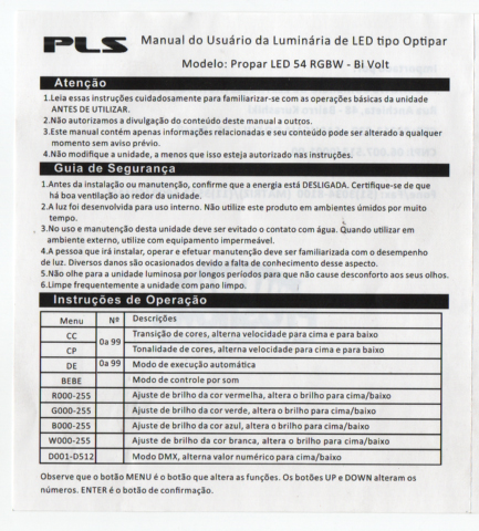 Refletor PLS Propar LED 54 RGBW Bivolt  - MegaLojaSP