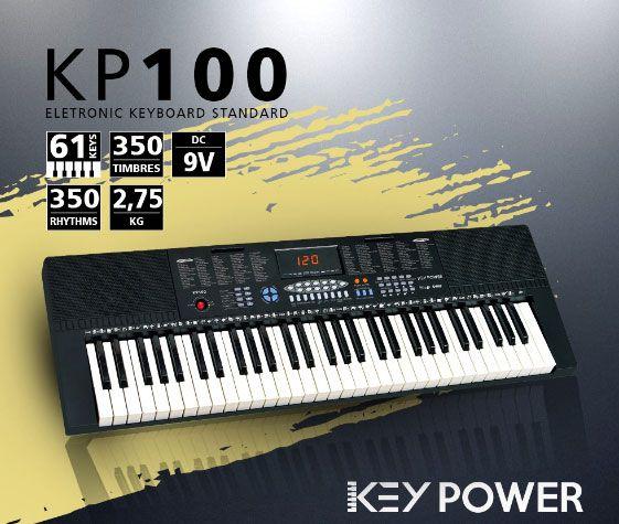 Teclado Kadosh Key Power 61 Teclas 350 Timbres e Ritmos KP100  - MegaLojaSP