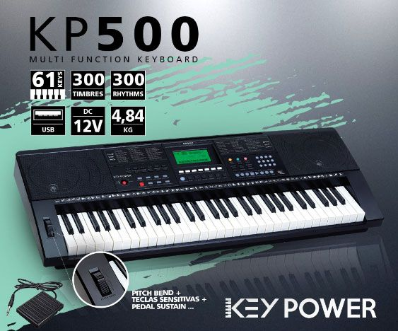 Teclado Kadosh Key Power 61 Teclas USB 300 Timbres e Ritmos KP500  - MegaLojaSP