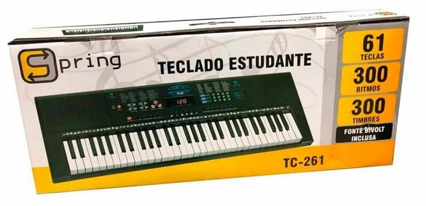 Teclado Spring 61 Teclas, Display Led, 300 Ritmos TC261  - MegaLojaSP