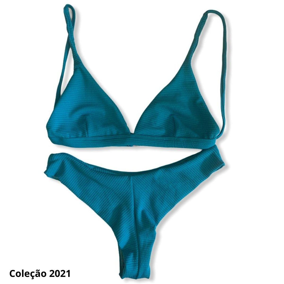 Biquíni asa delta V com top lenço trançado azul claro