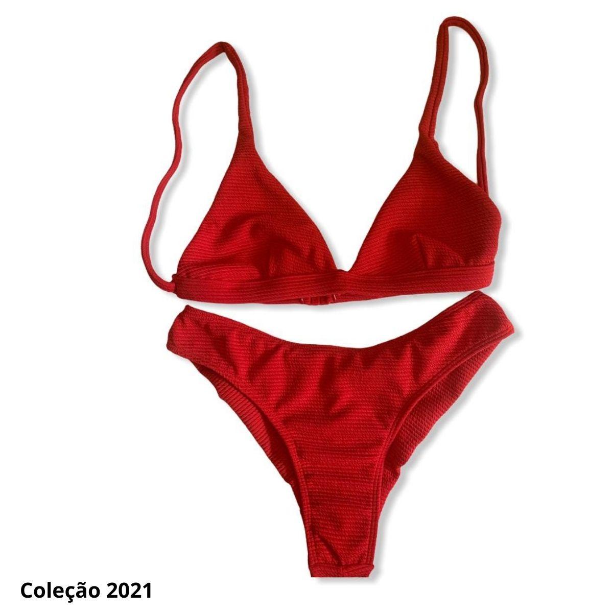 Biquíni asa delta V com top lenço trançado vermelho