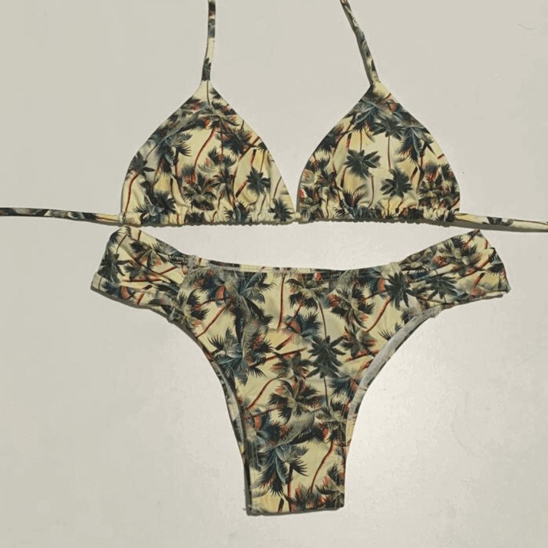 Biquíni drapeado com cortininha coqueiros nude