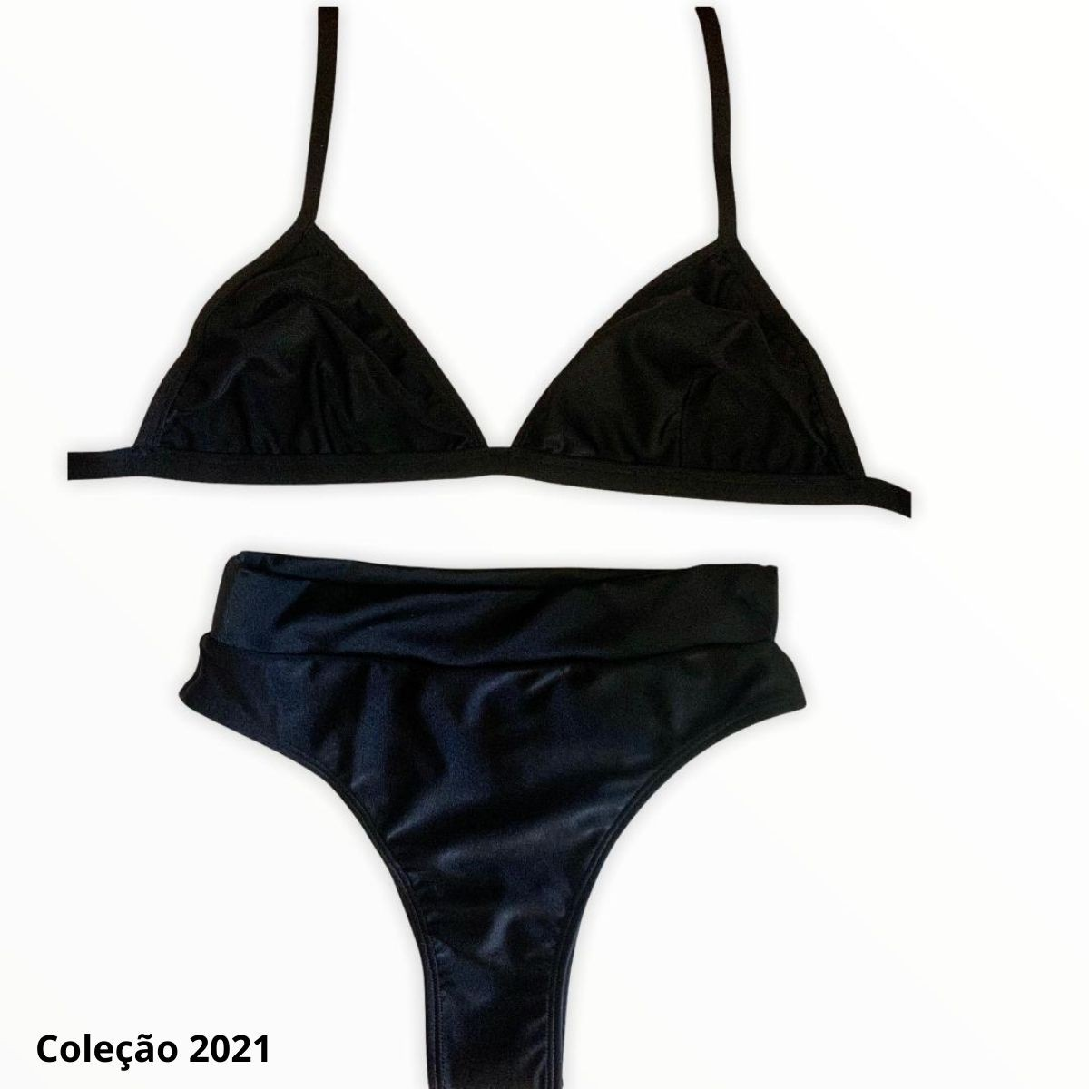 Biquíni Hot Pant cavado com cós - Preto