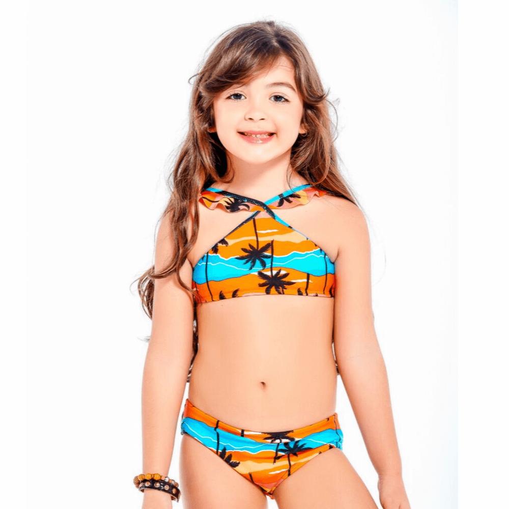 Biquíni infantil puxadinho coqueiros nude