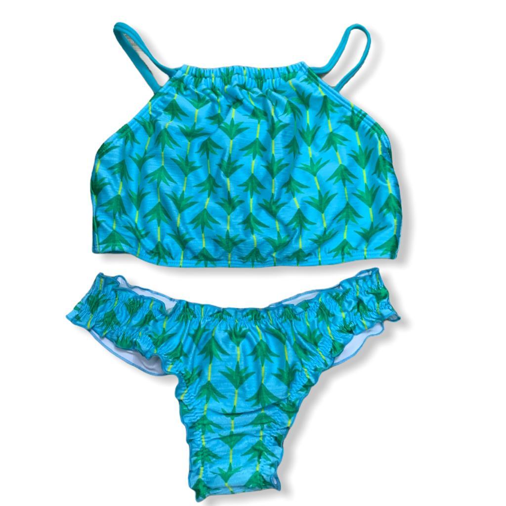 Biquíni ripple com cropped coqueiros azul