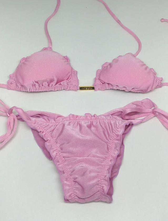 Biquíni ripple rosa bebê