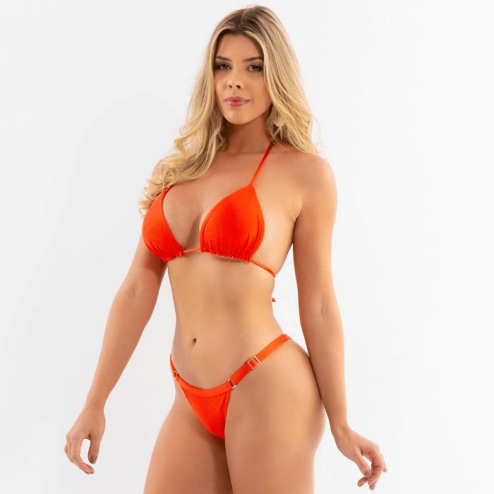 Biquini tanga com regulagem laranja