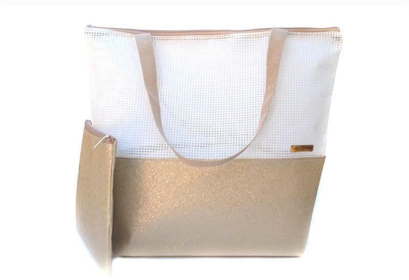 Bolsa de praia branca - glitter dourado