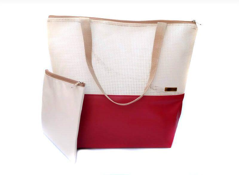 Bolsa de praia palha-vermelho