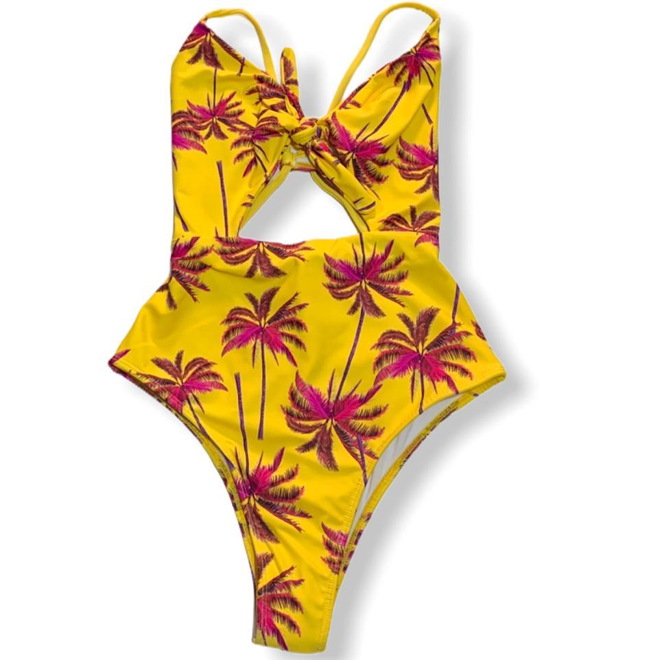 Maiô Hot Pant laços amarelo/rosa