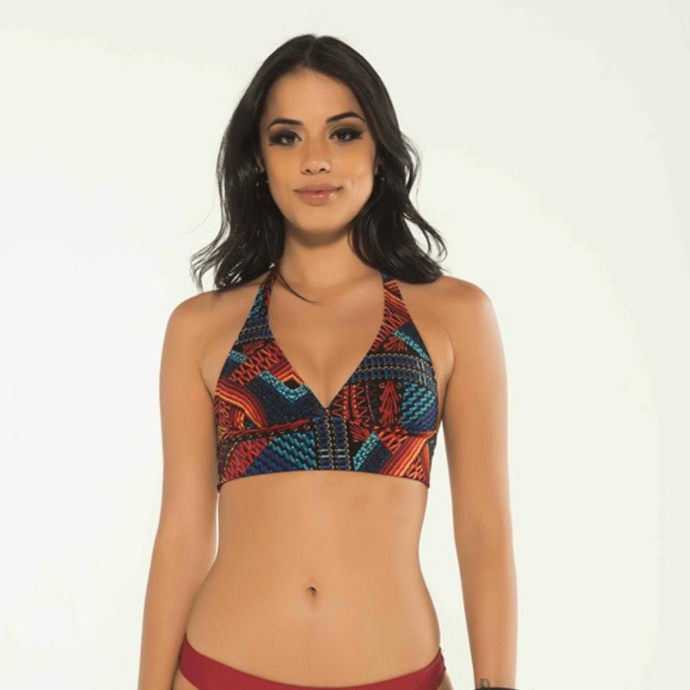 Top lenço colorido