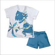 Pijama menino manga curta dinossauro