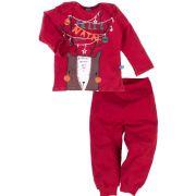 Pijama primeiros passos manga longa natal rena