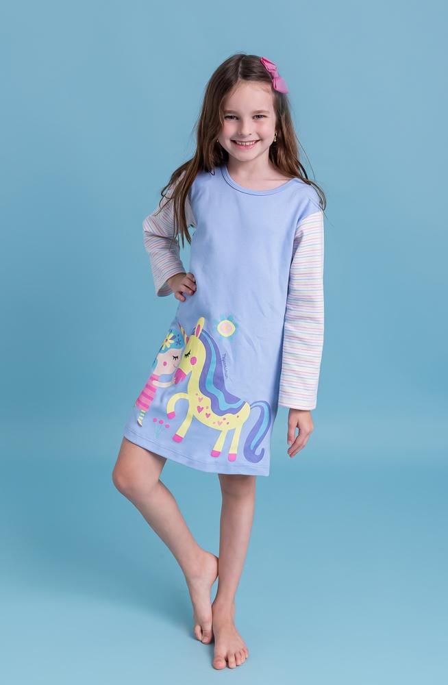 Camisola infantil menina manga longa Menina e Unicórnio