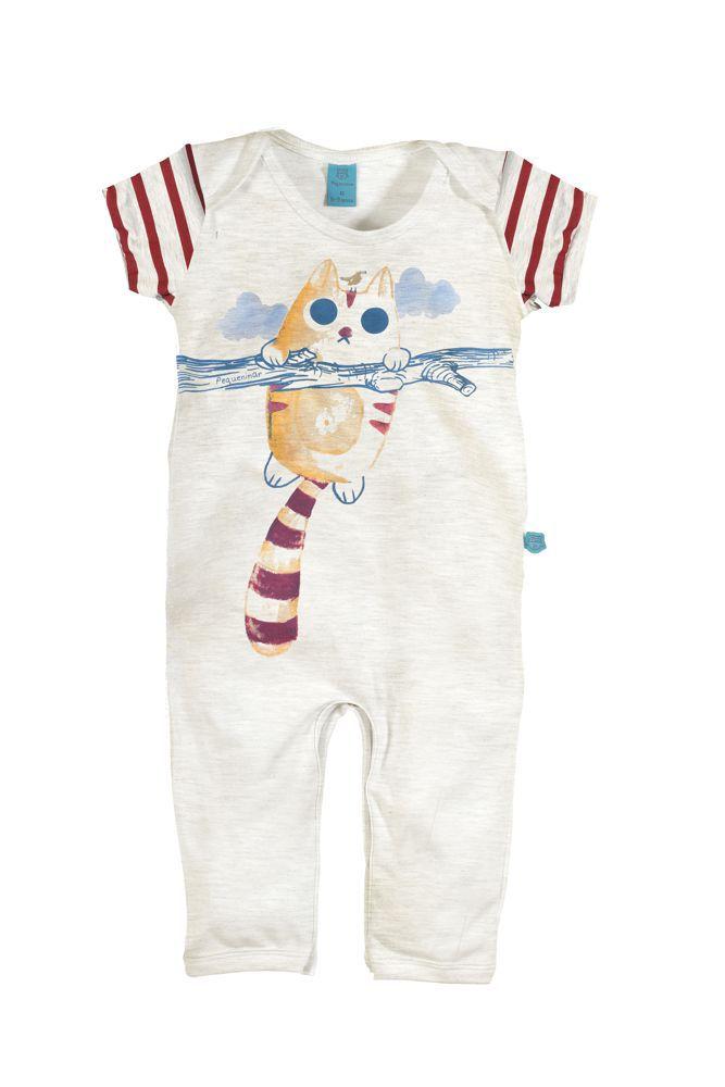Macacão bebê manga curta gatinho com listras