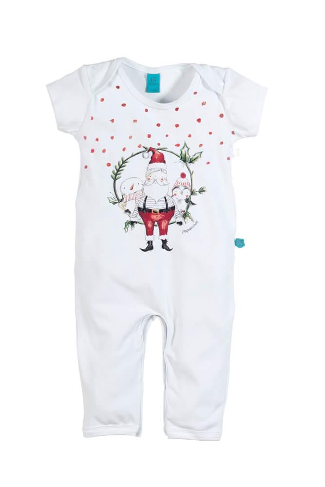 Macacão bebê manga curta papai noel