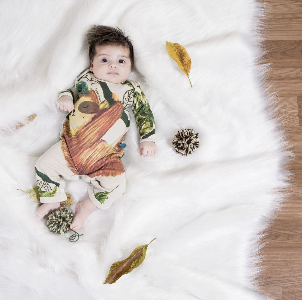 Macacão bebê manga longa bicho preguiça