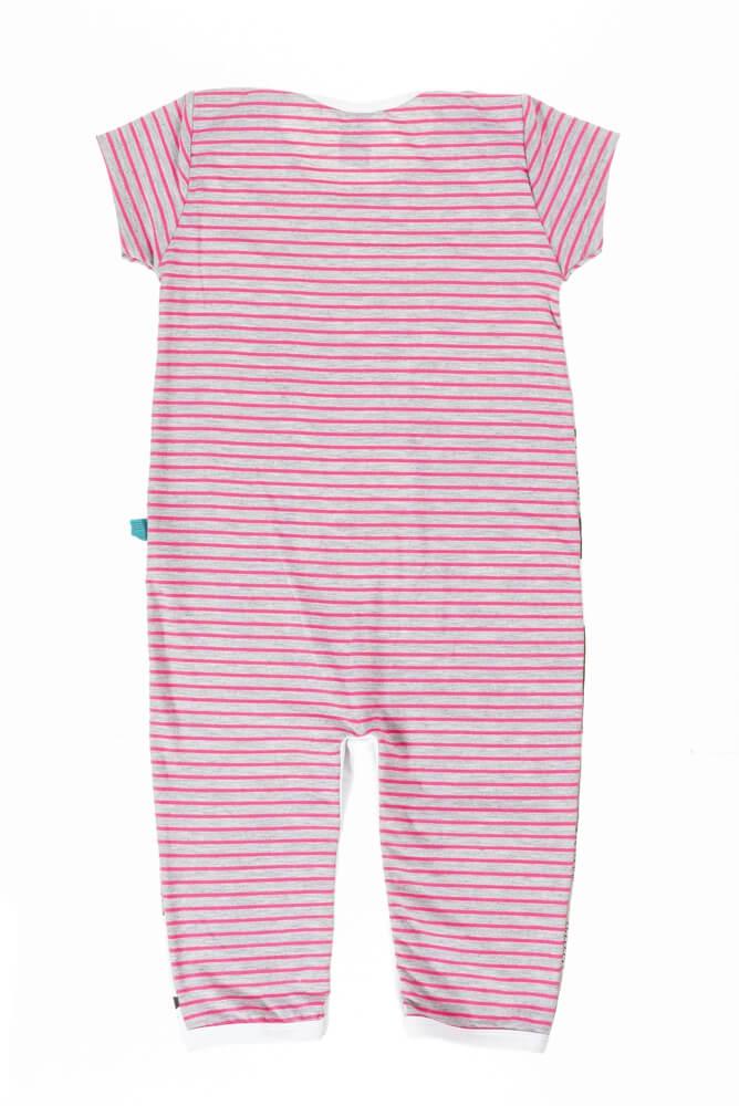Macacão bebê menina manga curta bichinhos