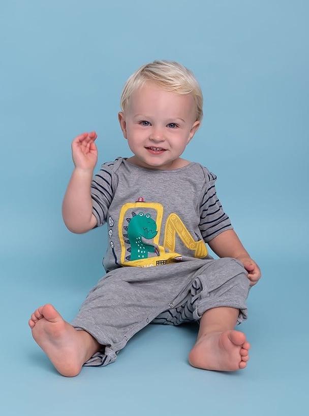 macacão primeiros passos menino manga curta Dinossauro