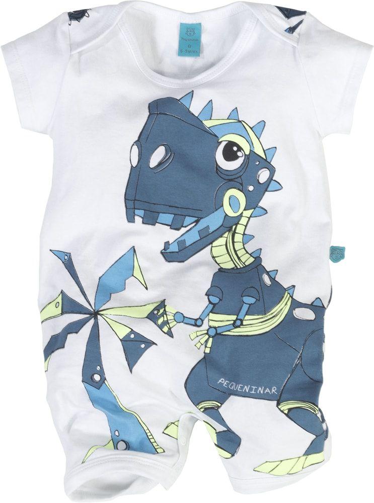 Macaquinho bebê manga curta dinossauro