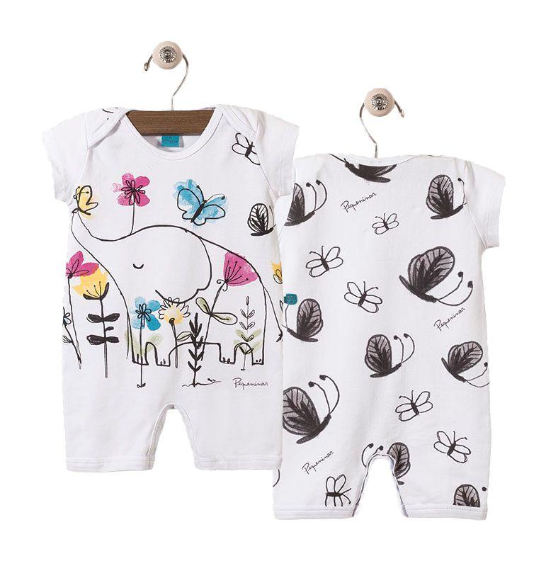 Macaquinho bebê manga curta elefante com borboletas