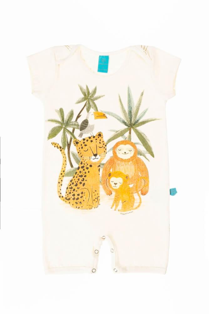 Macaquinho bebê menino manga curta Animais na selva