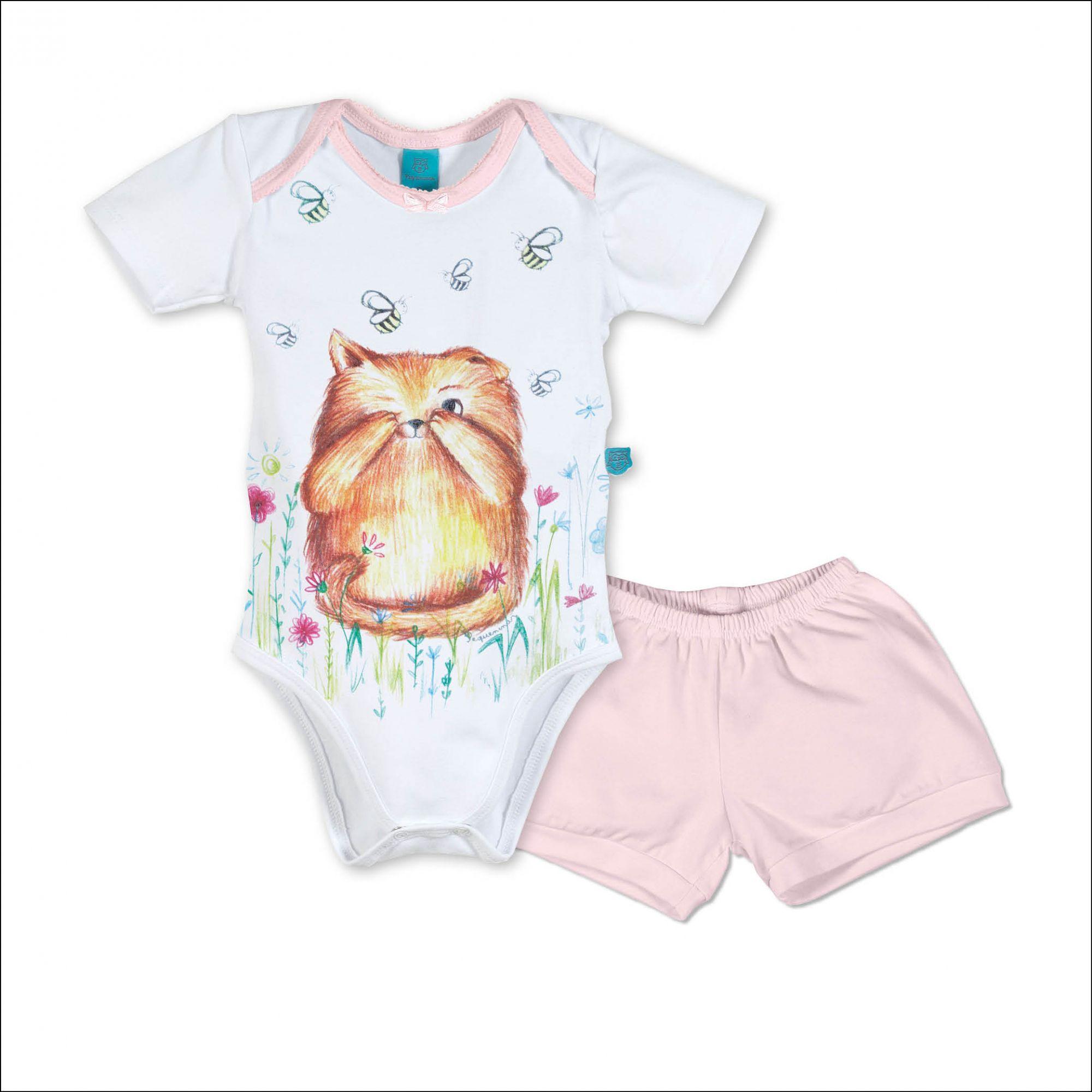 Pijama bebê manga curta gato e abelhas