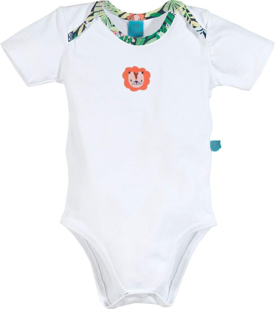 Pijama bebê manga curta leão na floresta