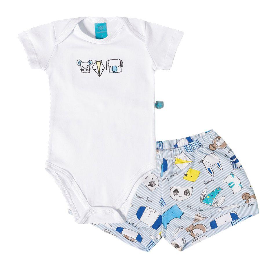 Pijama bebê manga curta zoológico