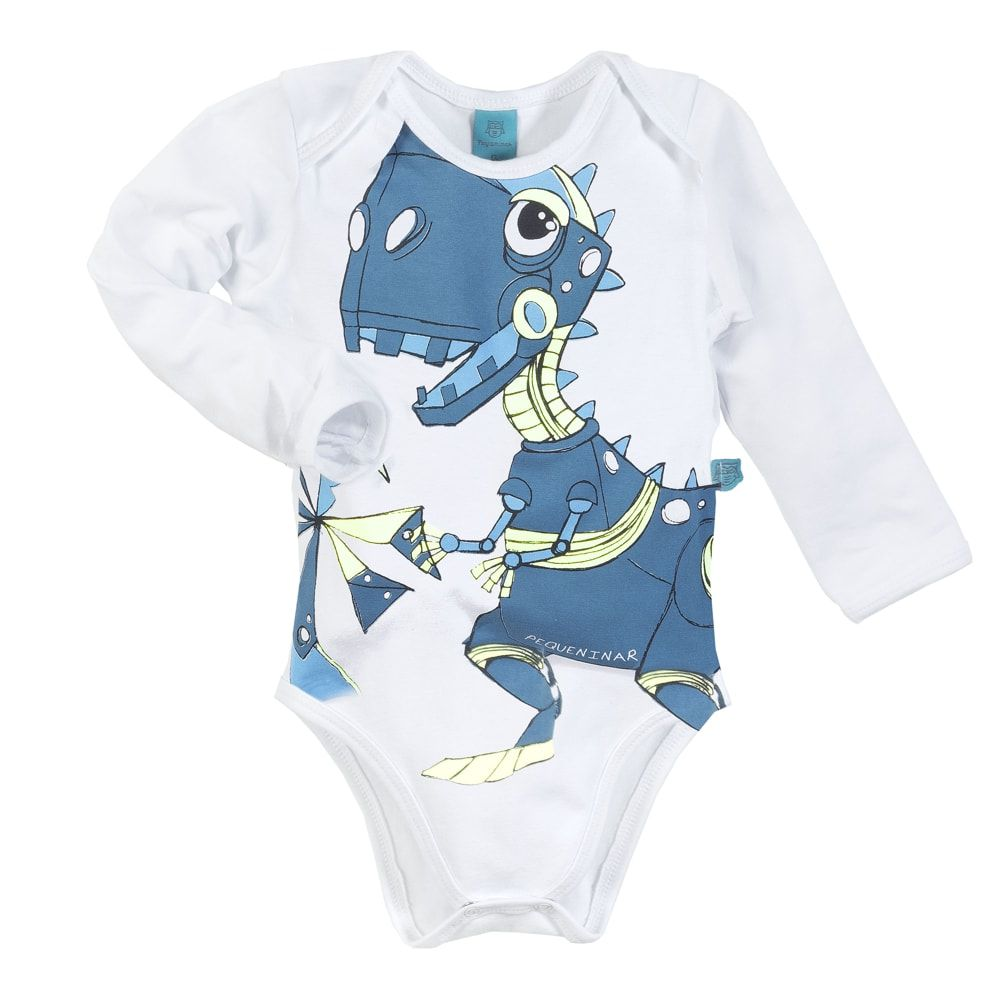 Pijama bebê manga longa dinossauro