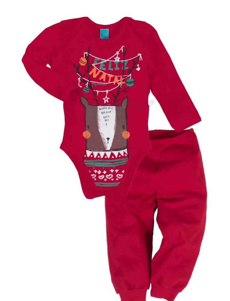 Pijama bebê manga longa natal rena