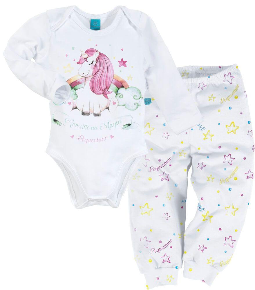 Pijama bebê manga longa unicórnio estrelado