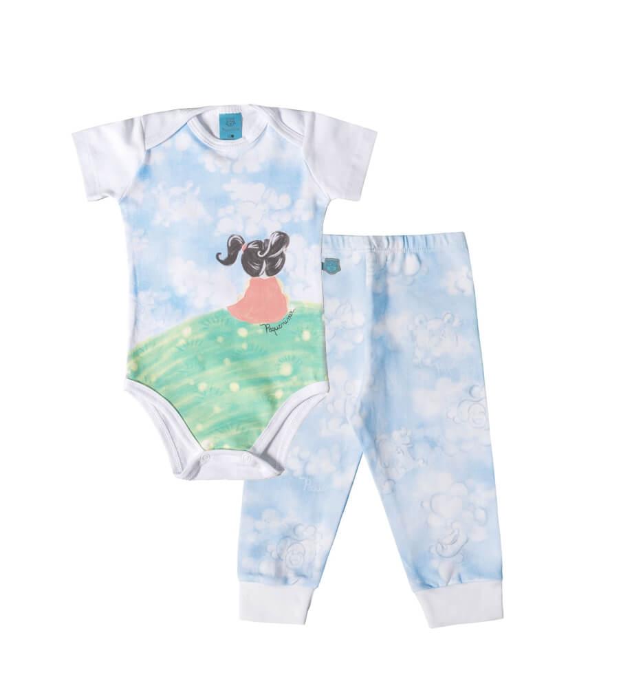 Pijama bebê menina manga curta Menina no campo