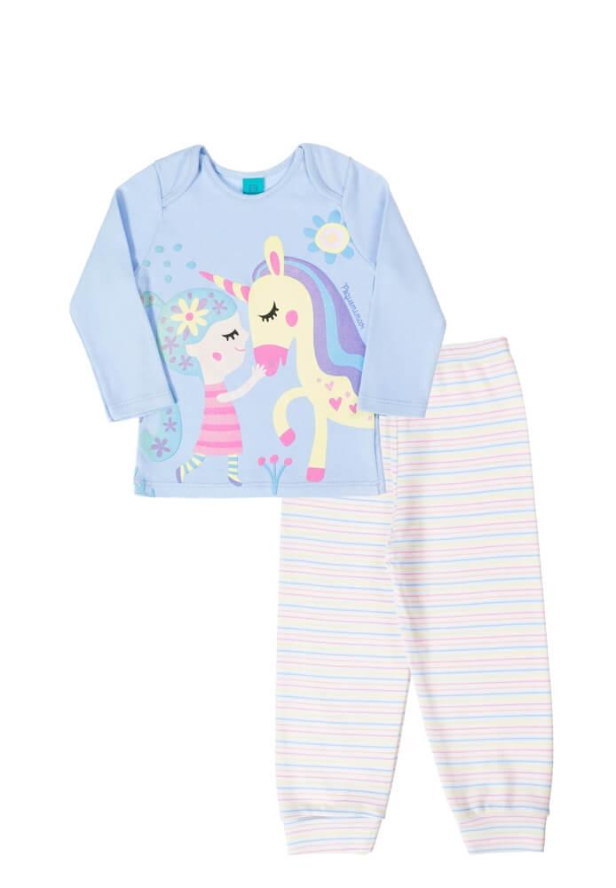 Pijama infantil menina manga longa Menina e Unicórnio